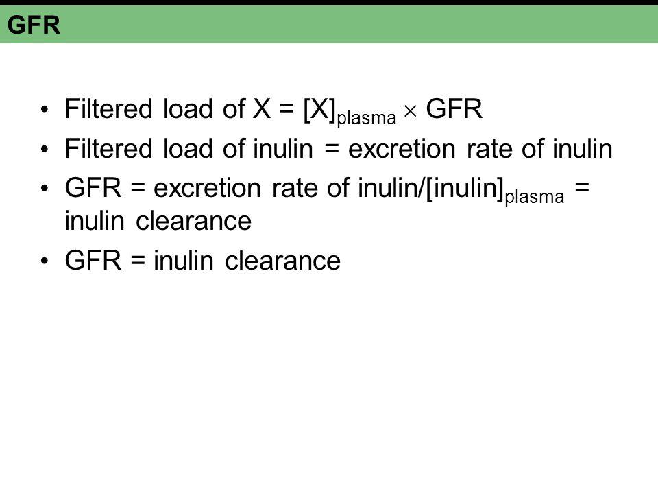 Filtered load of X = [X]plasma  GFR